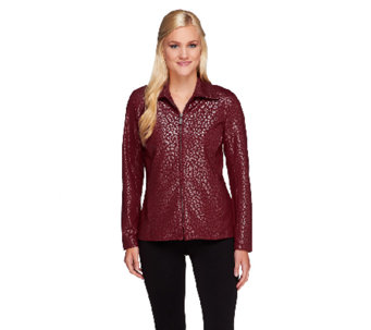 Bob Mackie's Lurex Animal Patterned Zip Front Jacket - A258781