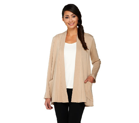 Susan Graver Brush Back Knit Open Front Cardigan with Front Pockets