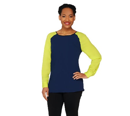 View by Walter Baker Color Block Long Sleeve Woven Top