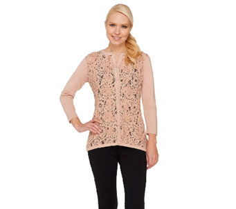 Dennis Basso 3/4 Sleeve Lace Front Sweater Cardigan - A263181