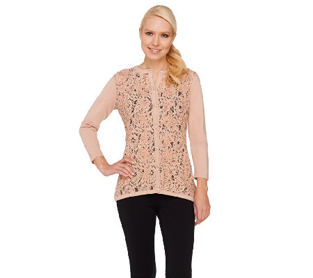 Dennis Basso 3/4 Sleeve Lace Front Sweater Cardigan