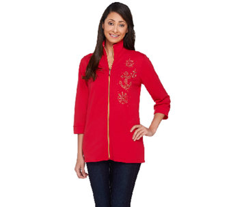 Quacker Factory Good as Gold Zip Front Jacket - A263581