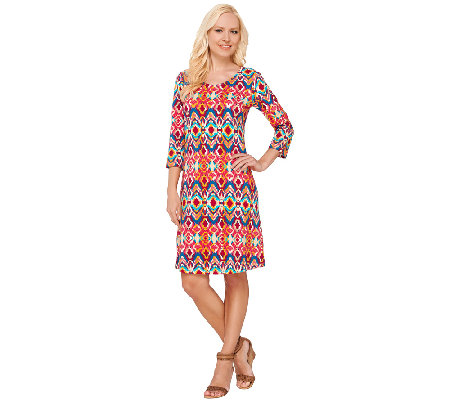 Liz Claiborne New York Regular 3/4 Sleeve Printed Dress