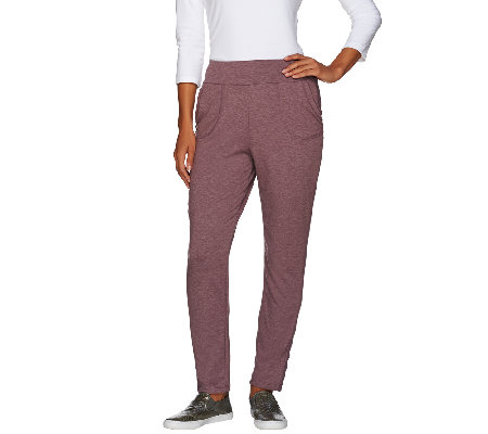 LOGO Lounge by Lori Goldstein French Terry Pants with Tuxedo Stripe