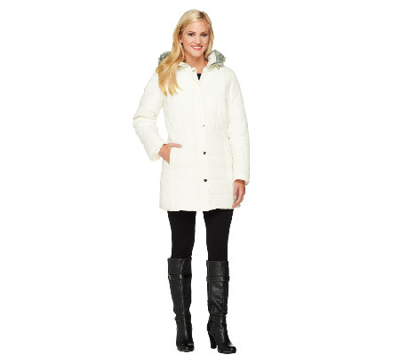 """As Is"" Susan Graver Puffer Coat with Hardware Detail & Hood"