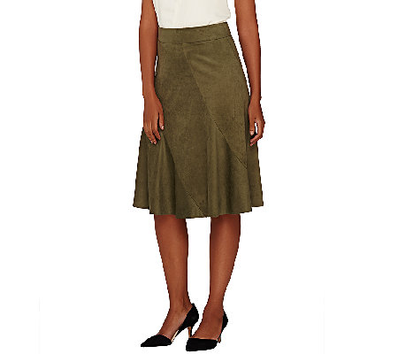 G.I.L.I. Faux Suede Skirt with Seaming Detail