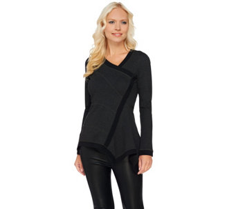 G.I.L.I. Long Sleeve Milano Ponte Asymmetric Hem Seamed Top - A268581