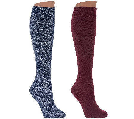 Cuddl Duds Plushfill Knee High Heavyweight Socks Set of 2
