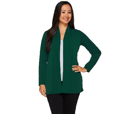 Susan Graver Liquid Knit Long Sleeve Cardigan with Back Buttons