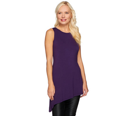 LOGO Layers by Lori Goldstein Scoop Neck Knit Tank w/ Asymmetric Hem