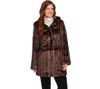 Dennis Basso Platinum Faux Fur Jacket with Hood - A270681
