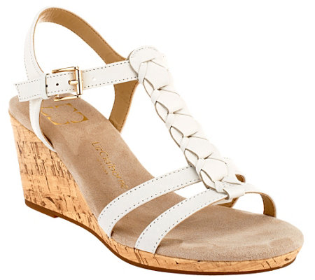 """As Is"" Liz Claiborne New York Leather Wedges with Braid Design"