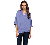 H by Halston Draped Wrap Front Knit Elbow Sleeve Top - A273281