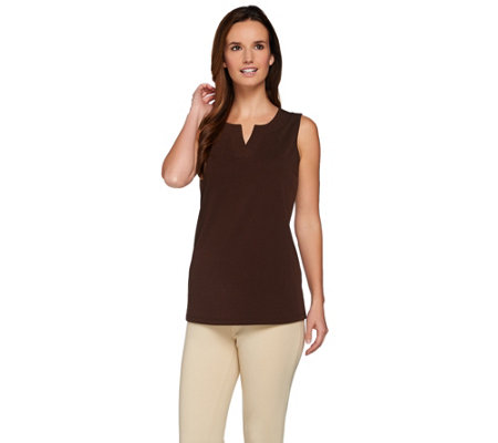 Susan Graver Essential Passport Knit Split Neck Sleeveless Top