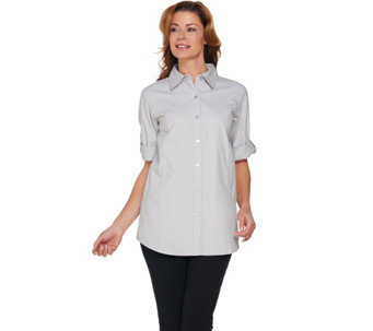 Joan Rivers Lightweight Denim Boyfriend Shirt w/ Scoop Pockets - A274381