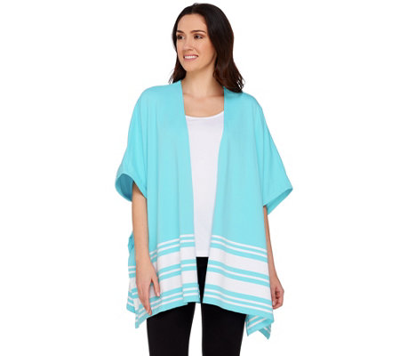 Denim & Co. Active Knit Poncho with Stripe Detail