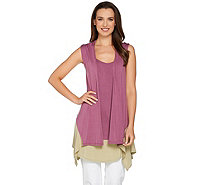 LOGO by Lori Goldstein Color-Block Twin Set Vest & Tank - A275781
