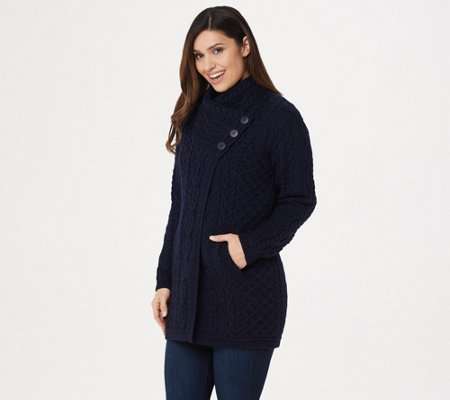 Aran Craft Merino Wool Long Cardigan with Button Collar Closure