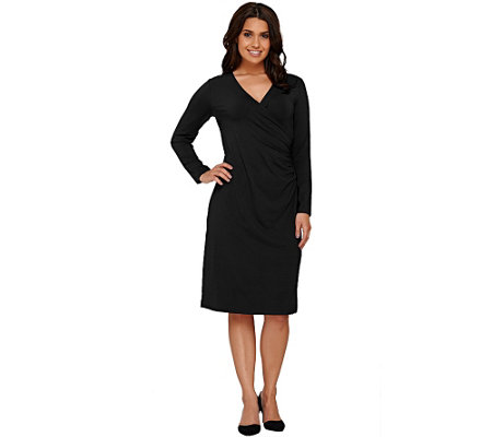"""As Is"" Susan Graver Dolce Knit Long Sleeve Faux Wrap Dress"