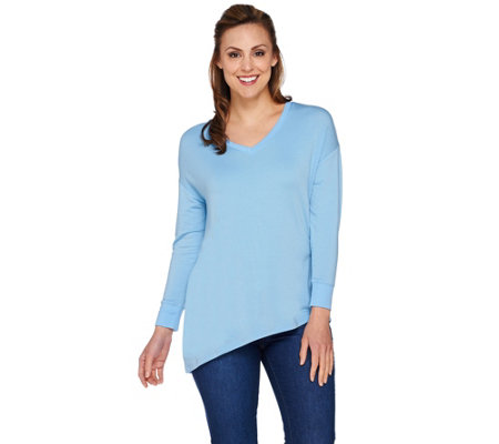 H by Halston Long Sleeve Knit Top with Crossover Back Detail