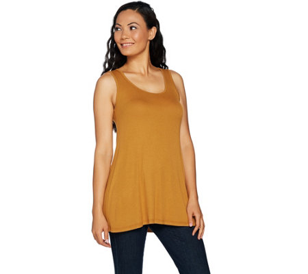 LOGO Layers by Lori Goldstein Rib Knit Straight Hem Tank