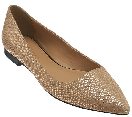"""As Is"" H by Halston Metallic Embossed Python Flats - Lucille"