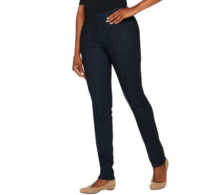 "Denim & Co. ""How Smooth"" Petite Denim Straight Leg Jeans"