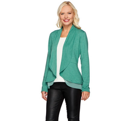 """As Is"" LOGO Lounge by Lori Goldstein French Terry Peplum Cardigan"