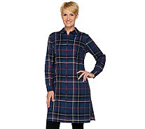 Studio by Denim & Co. Button Front Plaid Shirt Duster - A280681