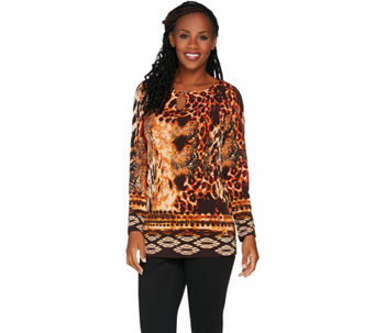 Susan Graver Printed Liquid Knit Tunic with Keyhole - A282081