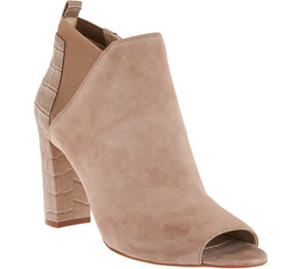 Marc Fisher Leather or Suede Peep Toe Booties - Sabrea - A282781