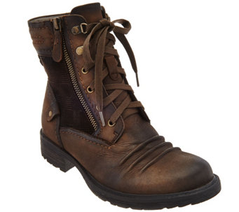 Earth Leather Lace-up Boots w/ Plaid Detail - Summit - A282881