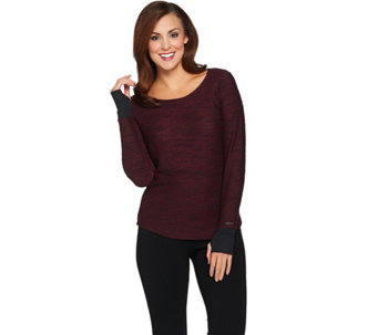 HotTotties French Knit Melange Long Sleeve Scoop Neck Top - A283181