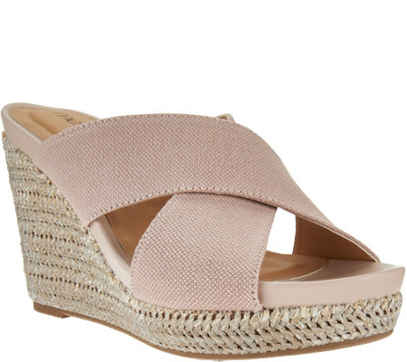 """As Is"" Me Too Canvas Cross Strap Slide Wedges - Athena"