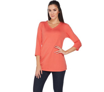 C. Wonder Essentials Pima Cotton 3/4 Sleeve V-neck Knit Top - A284181