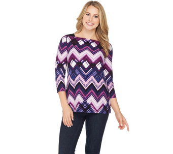 Susan Graver Printed Brushed Liquid Knit Top - A284781