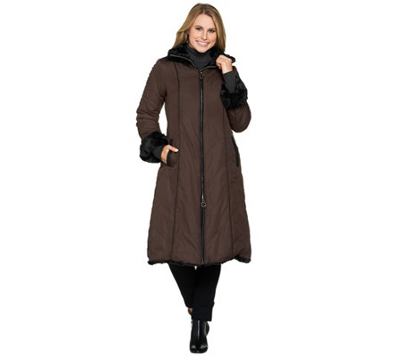 Dennis Basso Reversible Faux Fur Coat with Zip Off Hood