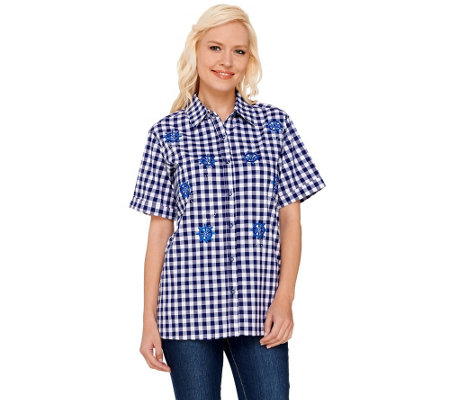 """As Is"" Quacker Factory Embroidered Gingham Button Front Shirt"