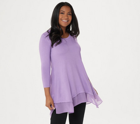 """As Is"" LOGO by Lori Goldstein 3/4 Sleeve Knit Top with Chiffon Hem"