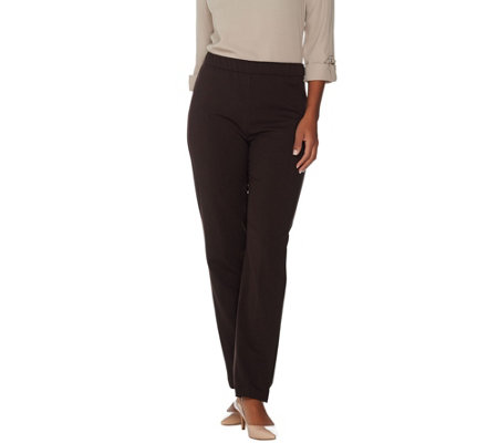 Susan Graver Chelsea Stretch Pull-On Straight Leg Pants - Petite