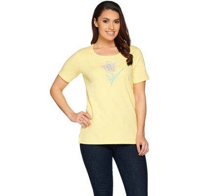 Quacker Factory Spring Sparkle Embroidered Short Sleeve T-shirt