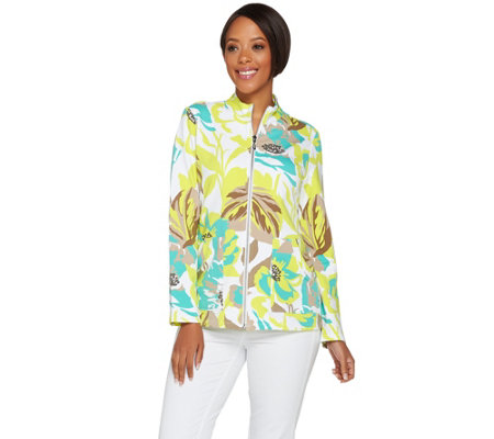 """As Is"" Susan Graver Weekend Printed French Terry Zip Front Jacket"