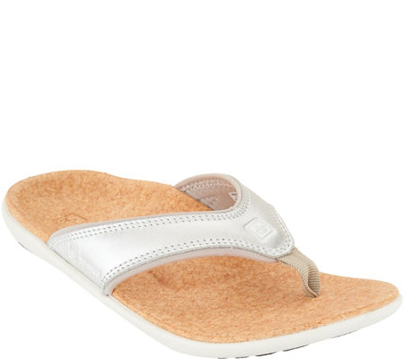 Spenco Orthotic Thong Sandals - Yumi Metallic