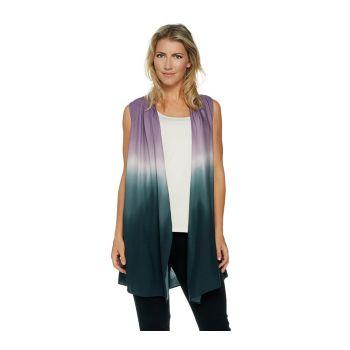 LOGO by Lori Goldstein Cascade Front Print Tie Dye Vest