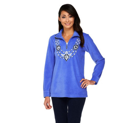 """As Is"" Bob Mackie's Embellished Neckline Fleece Pullover"