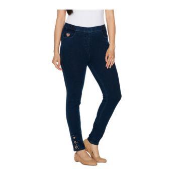 Quacker Factory DreamJeannes Short Leggings with Rose Gold Grommets