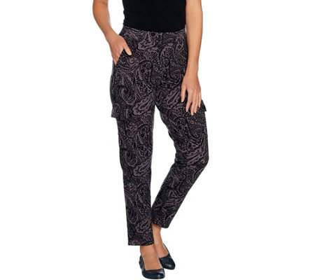 Denim & Co. Active Paisley Print Pants with Cargo Pockets