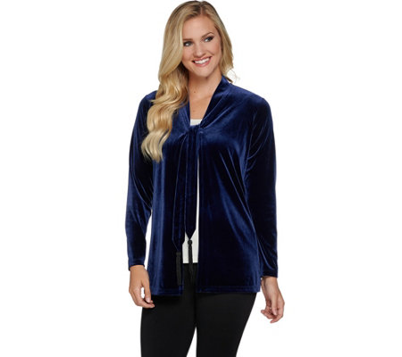 """As Is"" Susan Graver Stretch Velvet Cardigan with Beaded Tassels"