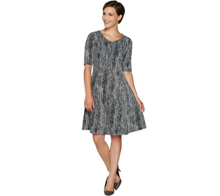 H by Halston Regular Knit Jacquard Fit & Flare Dress