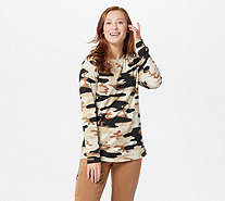 Denim & Co. Heavenly Jersey Camo Print Long Sleeve Pullover Top - A296281